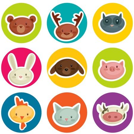 Ilustración de cartoon animal head stickers, vector illustration - Imagen libre de derechos