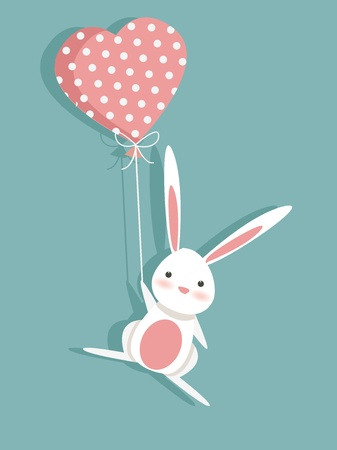 Ilustración de Valentine card with a cute bunny, illustration - Imagen libre de derechos