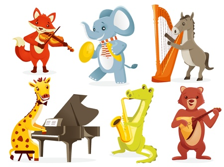 Animals playing intruments, vector illustration