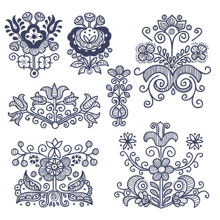 Floral folkloric elements isolated, vector illustration