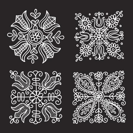 Rectangular floral folk ornament  vector illustration