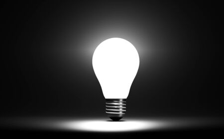Photo for 3D render light bulb art conceptual on color background - Royalty Free Image