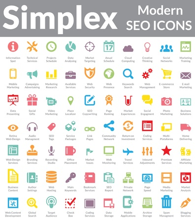 Illustration pour Set of simple, clean and modern SEO Services   Web Designer Icons  Suitable for wide media templates like  Web Marketing Agency Services, Social Media Services Showcase, Websites, Presentations, Promotional Materials, illustrations or Infographics  - image libre de droit