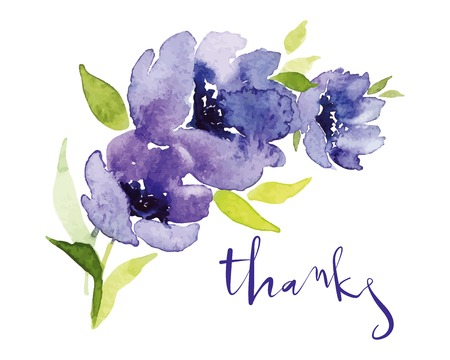 Illustration pour Postcard watercolor blue flowers. Mother\\ - image libre de droit