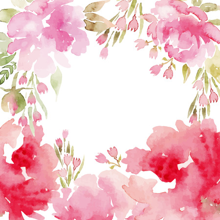 Illustration pour Watercolor flowers peonies. Handmade greeting cards. Spring composition. - image libre de droit