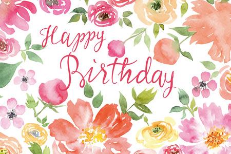 Flowers watercolor. Greeting card. Vector. Birthday.