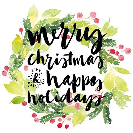 Foto für Christmas card. Watercolor painting. Hand lettering. Wreath for Christmas. Watercolor. - Lizenzfreies Bild