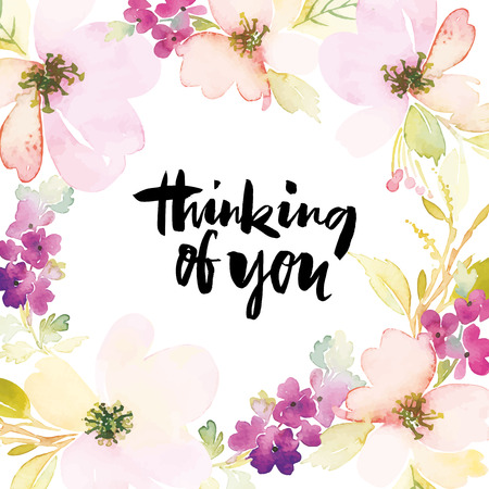 Illustration pour Watercolor greeting card flowers. Handmade. - image libre de droit