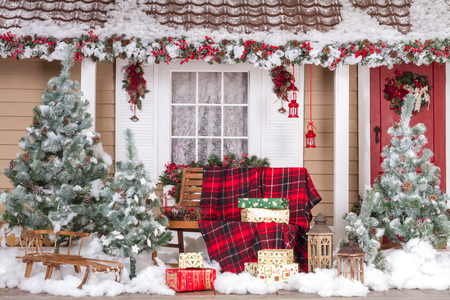 Beautiful House Decorated For Christmas And New Year