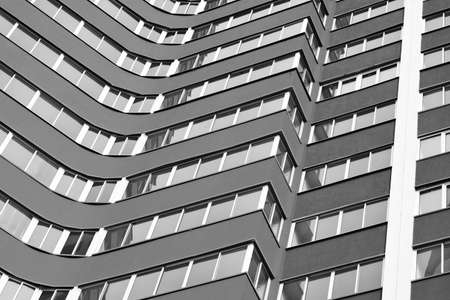 Multi-apartment residential house-new building (black-and-white photo)