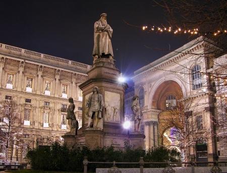 Leonardo's monument on Piazza Della Scala at night, Milan, Italy