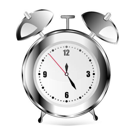 Illustration pour Alarm clock on white. Metal. Grey clock. good - image libre de droit