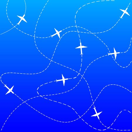 Illustration for Plane and track icon on a blue background - Royalty Free Image