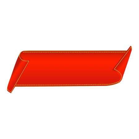 Illustration for Sale banner. Red curved ribbon isolated on white background. Vector illustration - Royalty Free Image