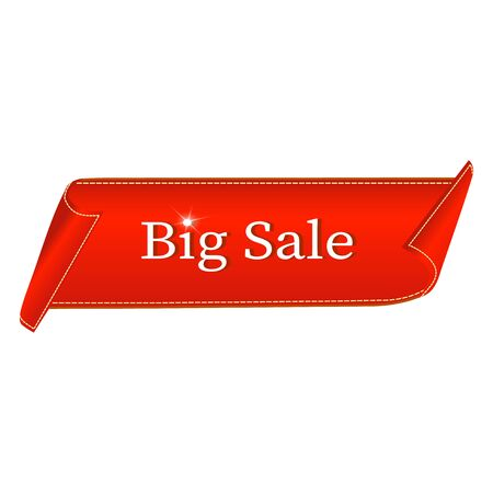 Illustration for Big Sale Banner. Red curved ribbon isolated on white background. Vector illustration - Royalty Free Image
