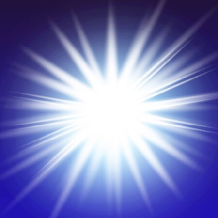 Illustration pour Lights sparkles isolated. Vector illustration of white glowing lens flares and sparks, blue background. - image libre de droit