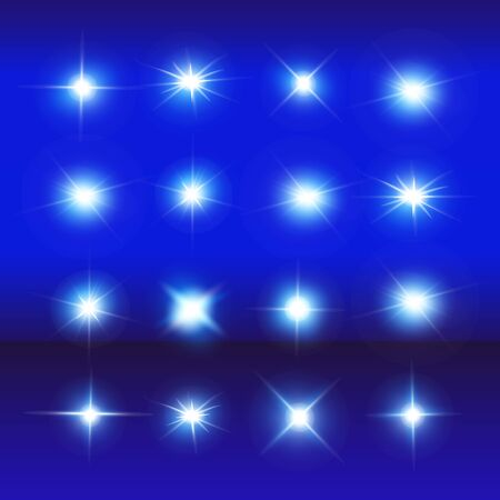 Illustration pour Set of Vector Neon Light Effects. Blue glowing light explodes .Bright Star. Special line flare light effects for design and decor. Blue background. - image libre de droit