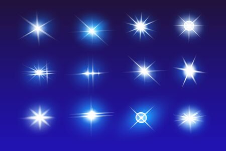 Illustration for Set of Vector Neon Light Effects. Blue glowing light explodes .Bright Star. Special line flare light effects for design and decor. Blue background. - Royalty Free Image