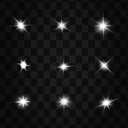 Illustration for glowing lights effects isolated on black background. Sun flash with rays and spotlight. Glow light effect. Star burst with sparkles. - Royalty Free Image