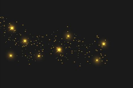 Illustration for Sparkling magical dust particles. The dust sparks and golden stars shine with special light. Vector sparkles on a black background. - Royalty Free Image