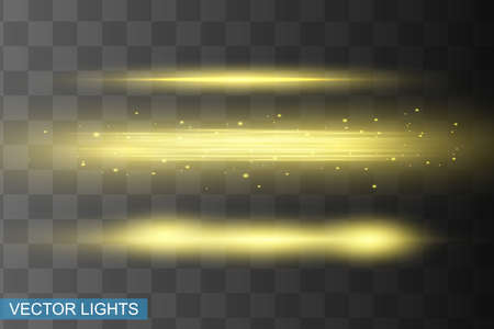 Illustration pour Abstract yellow laser beam. Transparent isolated on black background. Vector illustration.the lighting effect.floodlight directional - image libre de droit