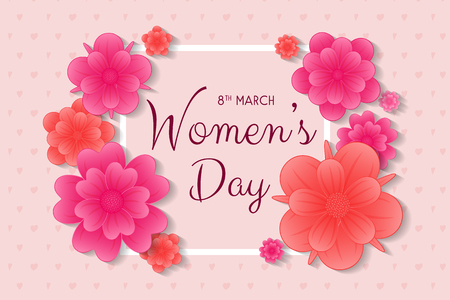 Women's Day - card with flowers and greeting. Vector.のイラスト素材
