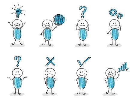 Illustration pour Concept of business and finance icons with funny stickman set. - image libre de droit