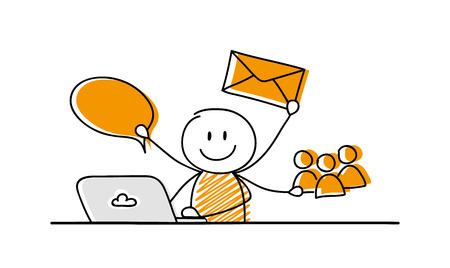 Illustration pour Business illustration concept with funny cartoon stick man vector. - image libre de droit