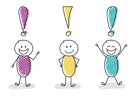 Ilustración de Group of cartoon stick men with exclamation points vector. - Imagen libre de derechos