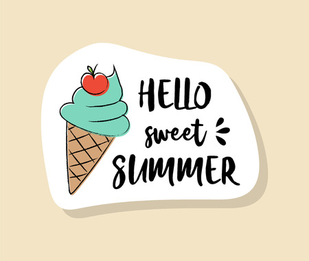 Funny summer badge in retro style. Vector.
