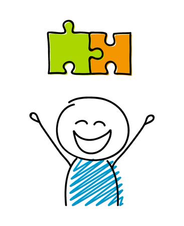 Illustration pour Puzzle (solution) symbol with happy stickman. Vector. - image libre de droit