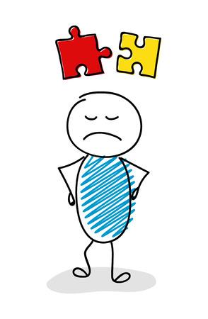 Illustration pour Angry stickman with puzzle (success concept) icon. Vector. - image libre de droit