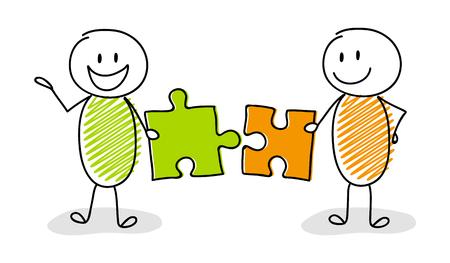 Ilustración de Happy stickman setting up puzzles - business concept. Vector. - Imagen libre de derechos