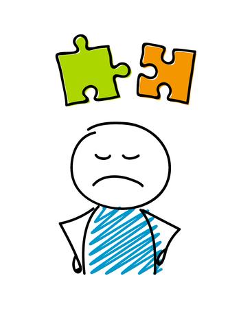 Illustration pour Puzzle (solution) symbol with angry stickman. Vector. - image libre de droit