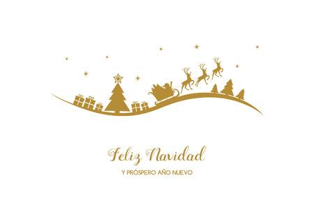 Illustration pour Feliz Navidad y Prospero Ano Nuevo - spanish Christmas wishes. Vector. - image libre de droit