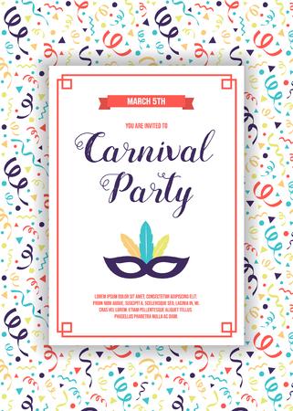 Illustration pour Design of Carnaval Party invitation with colorful pattern. Vector - image libre de droit