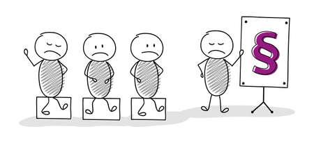 Illustration pour Leader concept - cartoon stickmen with paragraph sign icon. Vector - image libre de droit