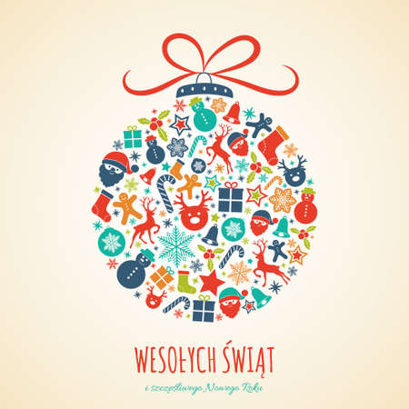 Illustration pour Merry Christmas in Polish (Wesolych Swiat) - concept of card with decoration. Vector. - image libre de droit