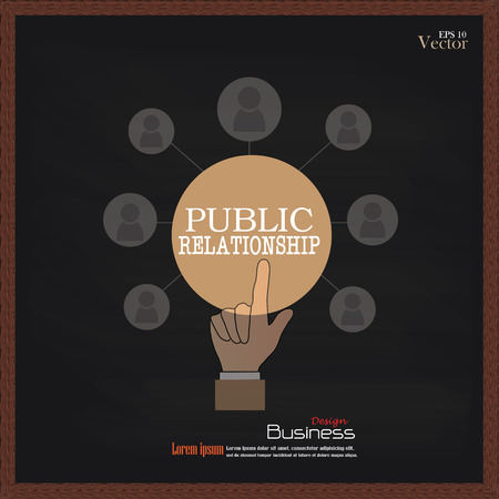 public relationsip. Hand point bublic relationship  with business icon on chalkboard.PR concept.vector illustration