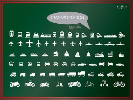 Foto de Transport icons.transportation on chalkboard.transportation .logistics.logistic icon.vector illustration. - Imagen libre de derechos