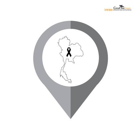Black awareness ribbon with thai map. Mourning  symbol.