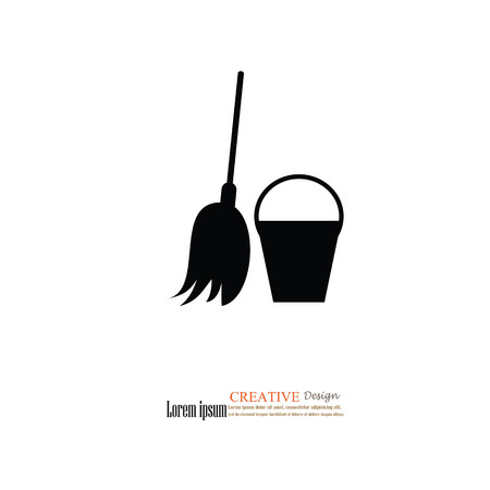 broom icon.Cleaning service icon.vector illustration.