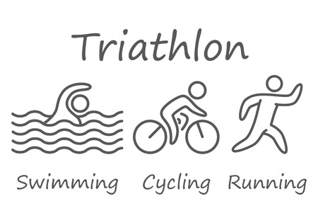 Outlines of figures triathlon athletes. Swimming, cycling and running vector simbols.
