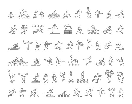 Illustration for Set of linear shapes popular sports athletes. Vector icons of sportsmen summer and winter sports on white background. - Royalty Free Image