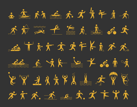 Ilustración de sports icons set. Gold shapes athletes for popular sports. - Imagen libre de derechos