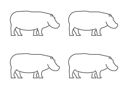 Ilustración de Outline hippo on a white background. - Imagen libre de derechos