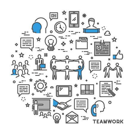 Illustration for Vector line concept for teamwork. Modern linear creative style for working together. Open path. - Royalty Free Image