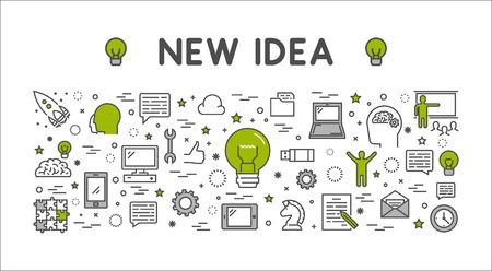 Illustration pour line design concept web banner for new idea. Modern outline horizontal banner for big idea. Line creative style concept for web. - image libre de droit