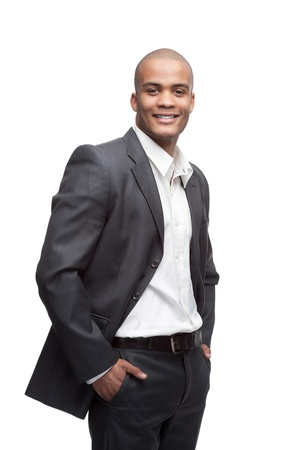 young cheerful black businessman standing isolated on white