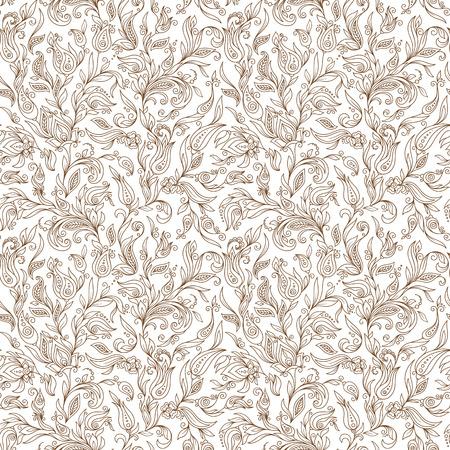 Illustration pour Henna Mehndi Tattoo Flowers Doodles Seamless Pattern. Paisley Flowers Illustration Design Elements - image libre de droit